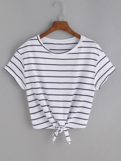 Striped Knot Front Tee -SheIn(Sheinside)