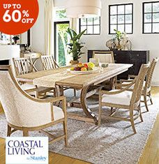 Inspired by the casual, carefree lifestyles of America's coasts, these high-quality furnishings make a splash in any room of your home. Woven water-hyacinth chairs and gently-distressed tables pair perfectly with spacious buffets, while panel beds and neutral-hued nightstands create a breezy sleep space. Mix and match soft pastels to create a coastal mosaic that will delight you and your guests for years to come.
