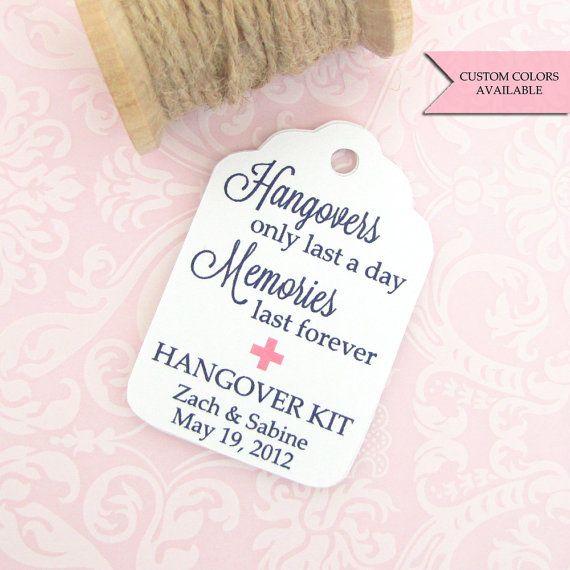 Hangover kit tags (30) - Wedding favor tags - Hangover kit bachelorette - Bachelorette party tags - Hang over kit