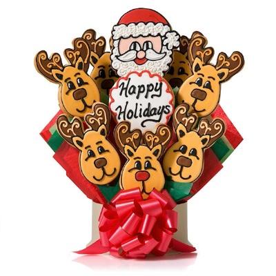 Christmas Reindeer Cookies: Cookies Ideas, Xmas Cookies, Decor Cookies, Christmas Reindeer Cookies, Christmas Cookies Bouquets, Christmas Treats, Cookies Christmas, Christmas Ideas, Cookie Bouquet