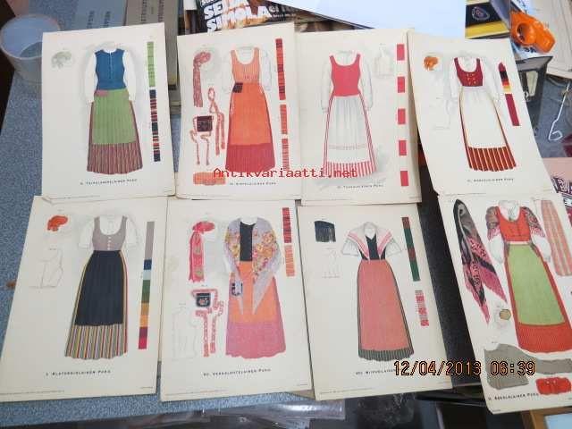Various Finnish traditional dresses from Taipalsaari, Sippola, Tuusula, Kokkola, Alatornio, Vehkalahti, Viipuri, Askola.