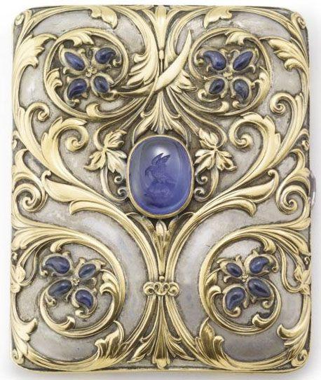 Cigarette Case; Gold & Silver, Farnham Design, Tendrils & Flowerheads, Sapphires, 3 inch. Category:silver & gold Type:boxes, caskets & caddies   JV