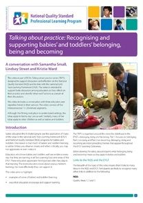 Newsletter 63: Talking about practice: Recognising and supporting babies' and toddlers' belonging, being and becoming