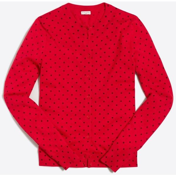 J.Crew Polka-dot Caryn cardigan sweater ($35) ❤ liked on Polyvore featuring tops, dot top, red long sleeve top, long sleeve tops, polka dot top and j crew tops