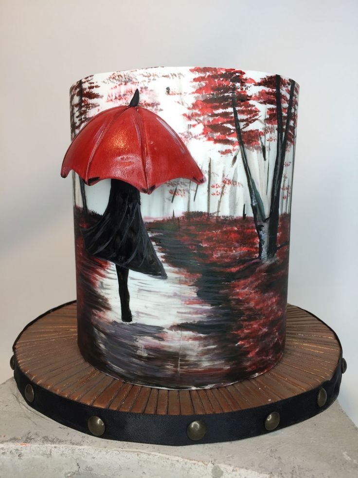 Painted Cake Double Barrel with Rain Scene painted with Colour Gels