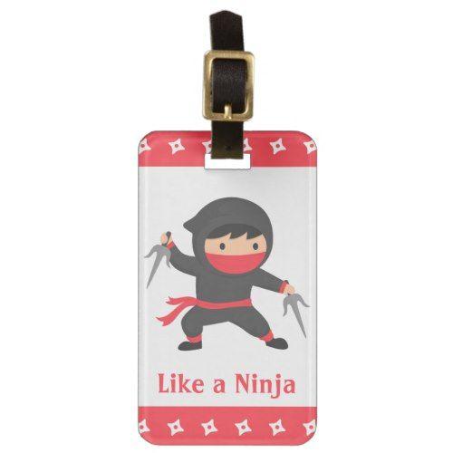 Cute Ninja Kid with Sai Weapons for Kids Bag Tag