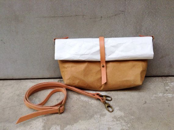 Kraft and Tyvek paper clutch bag strap roll by Belltastudio, $35.00