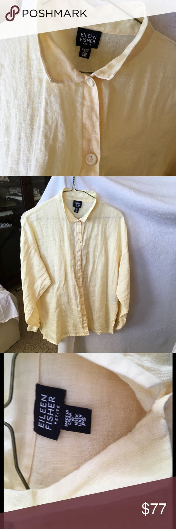 Linen Shirt in crisp yellow, fits like Medium Excellent condition, Eileen Fisher linen shirt. Sizes run big. This fits a typical medium or 8/10. Eileen Fisher Tops Button Down Shirts