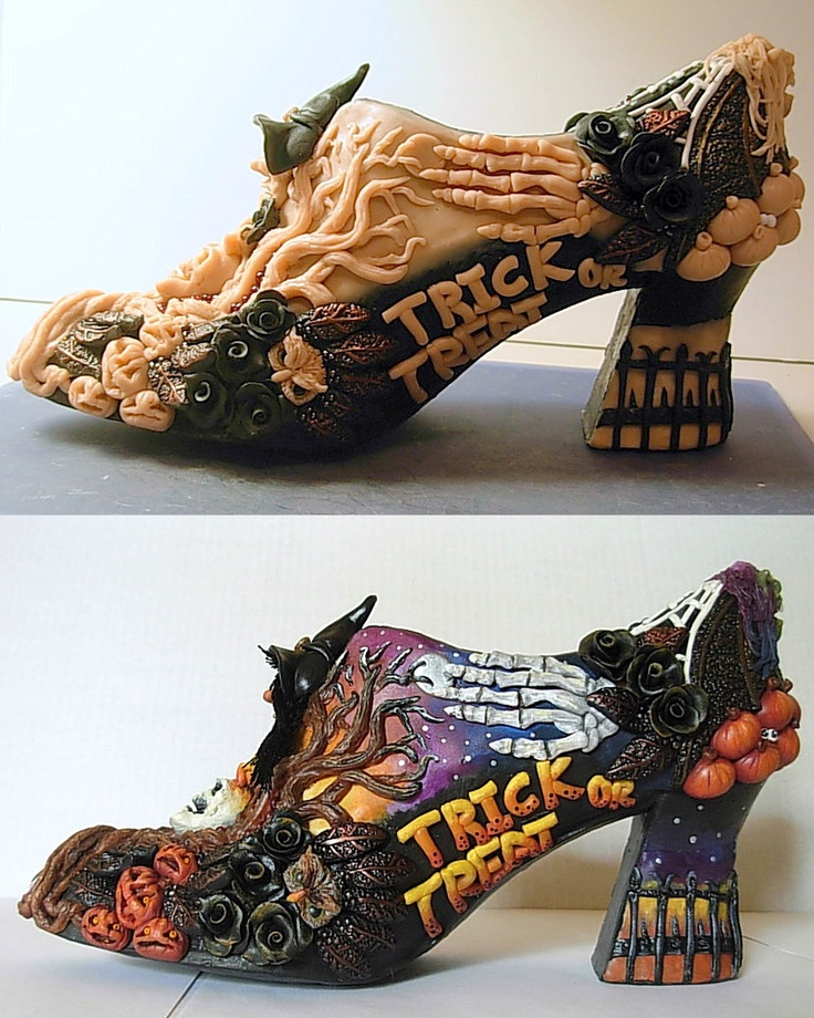 Hand sculpted Haloween shoes.
