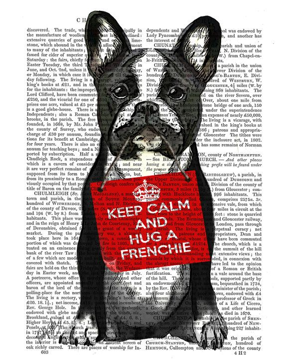 Hug a Frenchie Wall Art French Bulldog Print geekery poster cute home décor cute…