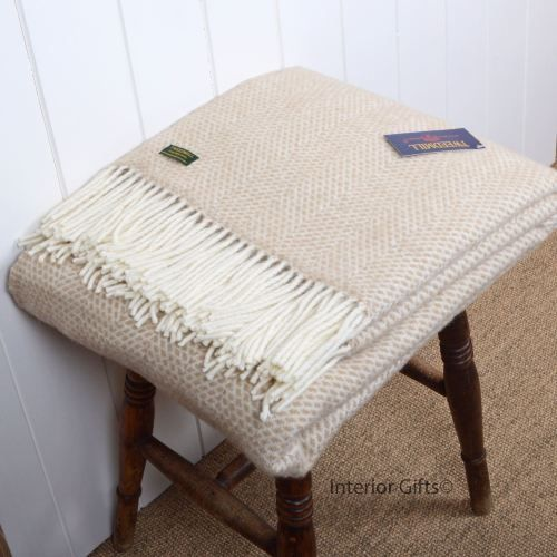 Tweedmill Beige and cream Beehive Weave Pure New Wool Throw