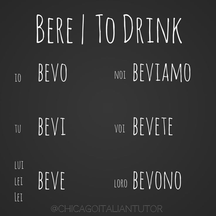 Italian Verb 'To Drink'