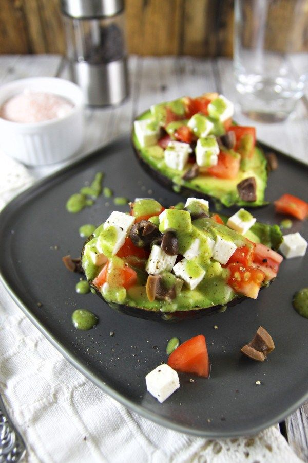Easy Avocado Brunch with Feta Cheese and Pesto on top. Gluten Free + Vegetarian + HEALTHY