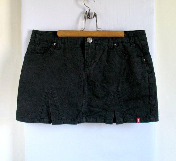 90s ESPRIT edc  black denim skirt Goth Skirt by vintachi on Etsy, $22.00