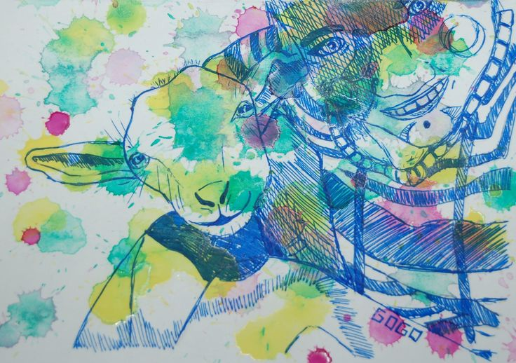 goat watercolor aquarel