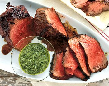 Char-Grilled Beef Tenderloin with Three-Herb Chimichurri.  Or use our Chimichurri blend to simplify the meal