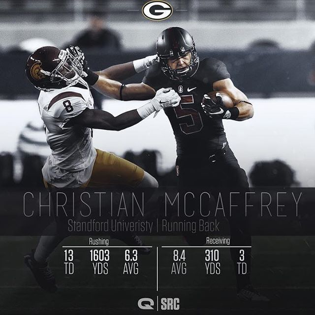 Collab w/ @designbyquinn . Leave feedback. Christian McCaffrey is projected to go to the Packers, do you think he'll go there? #ChristianMcCaffrey #Standford #GreenBayPackers #NFL #NFLDraft #offseason #football #srcgraphics #srccollab #like #pick6challenge #pick6 #photoshop #rookie #infographic #stats #collegefootball #NCAA #running back #sportsdesign #photooftheday