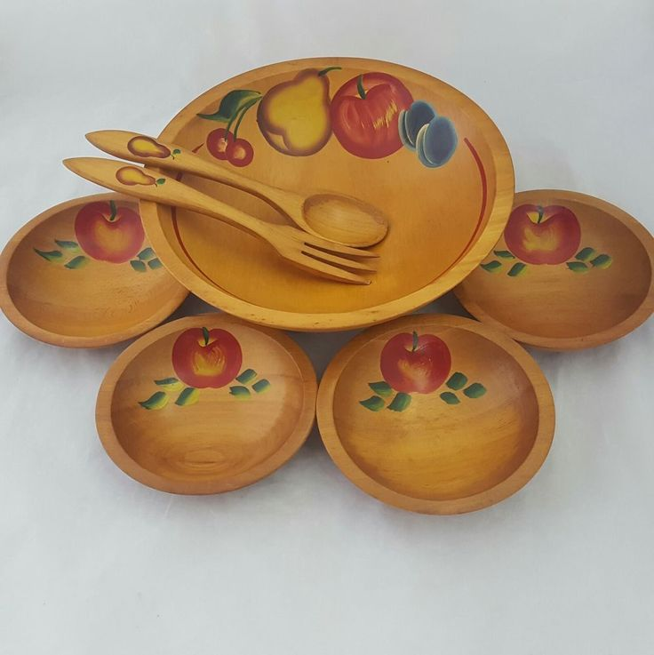 Vintage Wooden Salad Bowl Set Hand Painted Footed Bowl Serving Bowls Servers #HandPainted