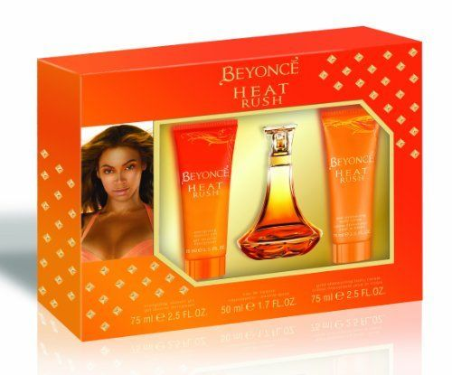 Beyonce Heat Rush Gift Set Eau De Toilettes, Shower Gel, Body Lotion by Beyonce Heat Rush. $20.59. Sensual. Sophisticated. Feel the rush. Feel the rush Beyoncé heat rush shines, sparkles and excites the moment it touches the skin. Surrounded by a luminous fragrant aura, the woman who wears it feels instantly effervescent and alive. Sensual and bright, the scent lights up a room just as Beyoncé captivates with her presence.