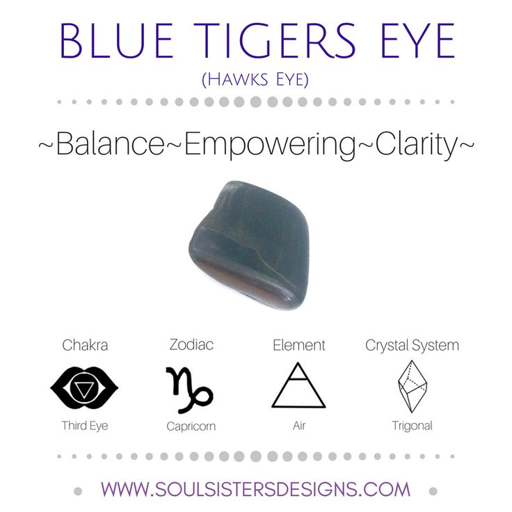 Metaphysical Healing Properties of Blue Tigers Eye, including associated Chakra, Zodiac and Element, along with Crystal System/Lattice to assist you in setting up a Crystal Grid. Go to https:/soulsistersdesigns.com to learn more!