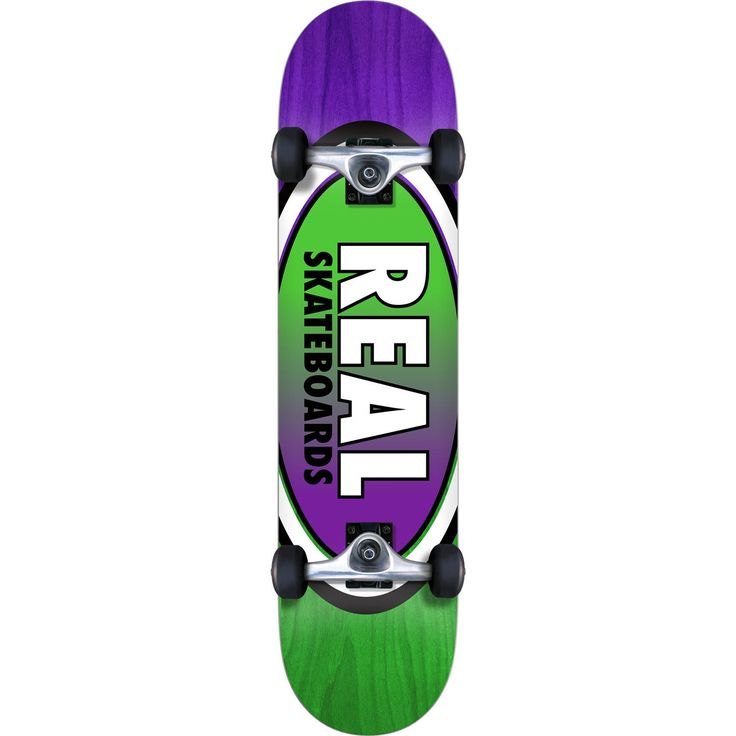 "Real Skateboards Oval II Fade Medium Green / Purple Complete Skateboard - 7.75"" x 31.6"". One (1) Real Skateboards Oval II Fade Medium Complete from Real Skateboards. Deck Size: 7.75"" x 31.6"". Factory assembled by Real Skateboards Skateboards and ready to skate. Includes trucks, wheels, bearings, hardware, and grip tape."