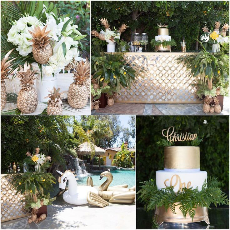 From @suzysogoyan Instagram. First birthday theme. Outdoor party with gold pineapples, white and gold decor and lots of greenery.