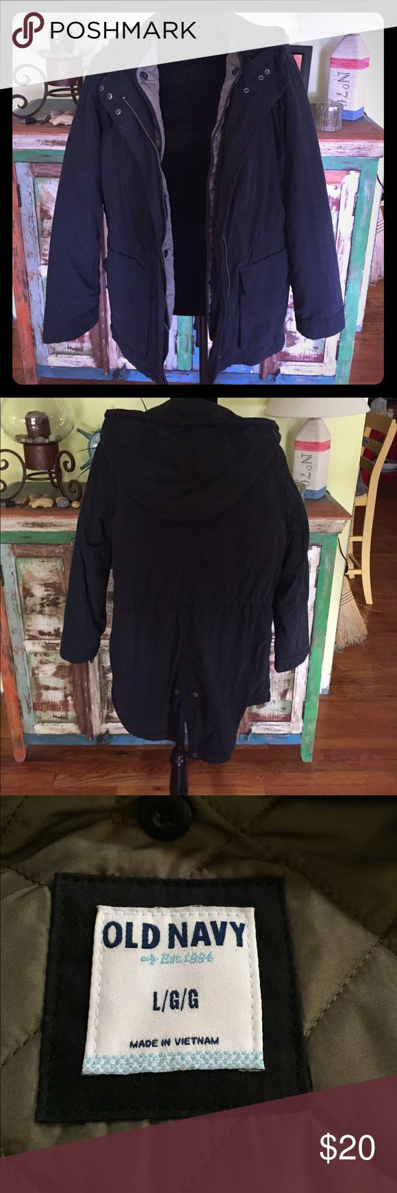 Women's Military Look Jacket Old Navy, removable quilted lining..Black. Size Large Old Navy Jackets & Coats Utility Jackets