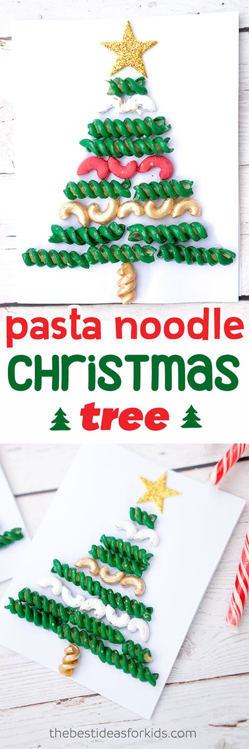 colored pasta noodle Christmas tree craft for kids