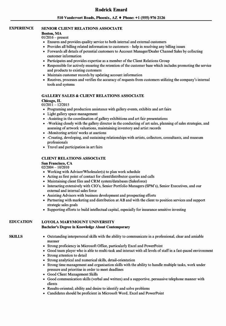 Client relationship manager resume fresh client relations