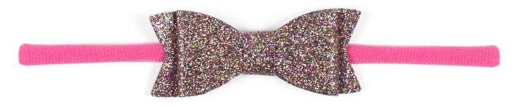 Baby Bling Glitter Bow Tie Skinny Headband-Hot Pink