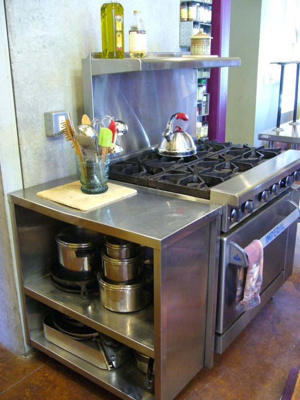 Most of this kitchen came from a restaurant supply and salvage store, it cost less than $5,000 for commercial grade appliances.
