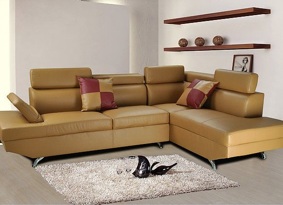 F2803b 2 Pc Elena Khaki Faux Leather Sectional Sofa With Throw Pillows Faux Leather Sectional Living Room Sets Furniture Leather Sectional Sofa