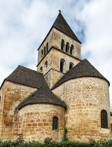 Medieval Romanesque Church of Saint-Léon-sur-Vézère - Dordogne - Aquitaine région,  France