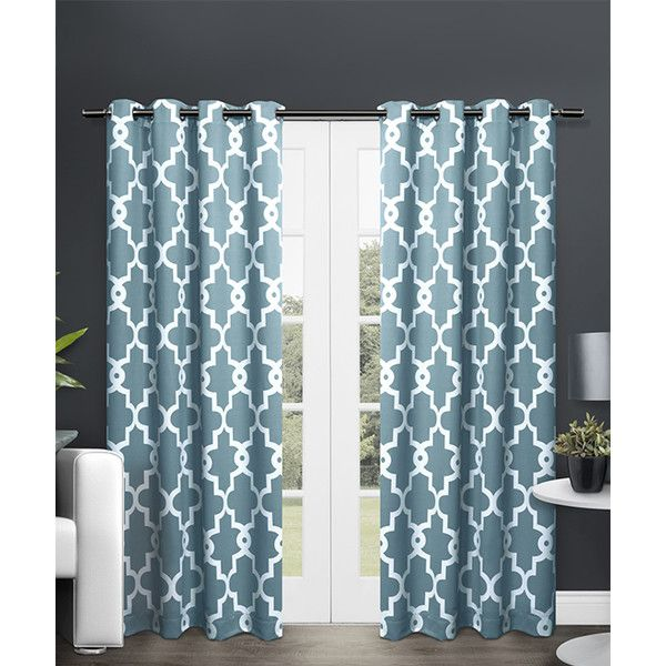 Exclusive Home Teal Ironwork Blackout Thermal Curtain Panel (£35) ❤ liked on Polyvore featuring home, home decor, window treatments, curtains, grommet window panels, grommet curtains, grommet blackout curtains, teal curtain panels and black out curtains