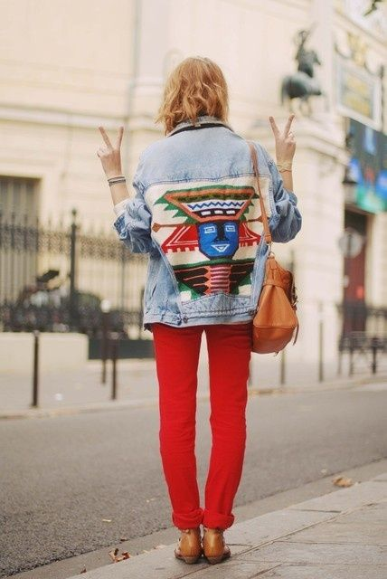 embroidered denim jacket and bright red skinnies