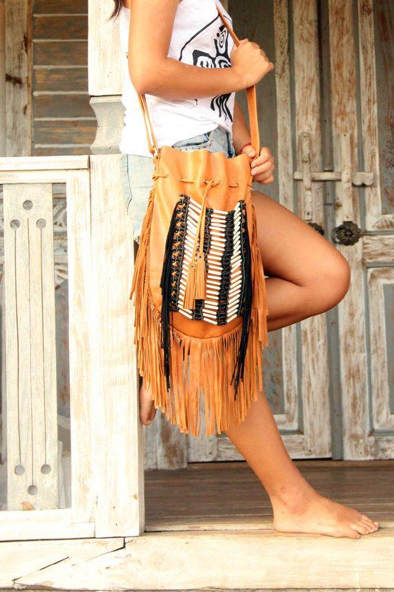 Fringe shoulder bag tan leather bag large size boho by etnikabali