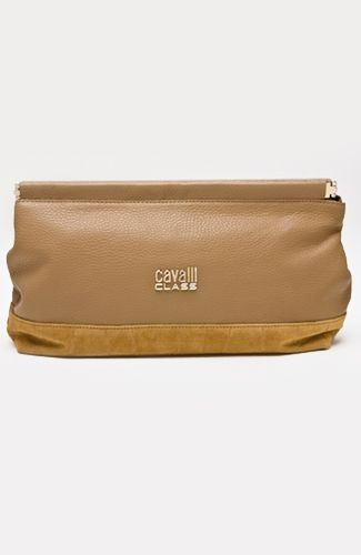 Clutch in combination leather and suede with alligator effect, magnetic closure, inner pockets. 31 cm width.
