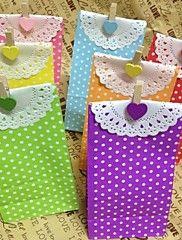 5pcs ambachten party polka dot papieren lunch zakken (9cm * 6cm * 18cm)