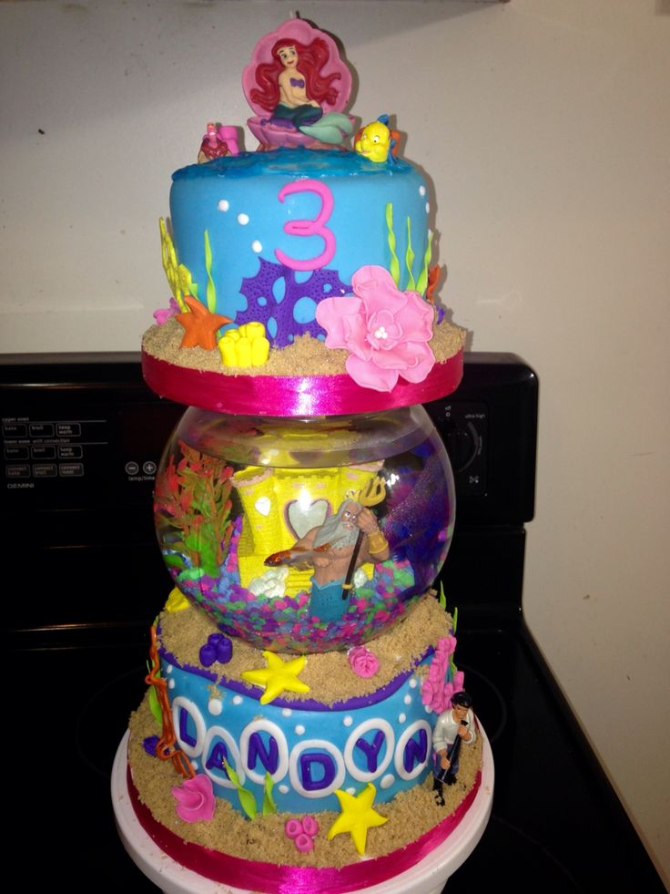 Birthday Cake Live Images ~ Little mermaid cake with live goldfish in fish bowl our custom cakes pinterest
