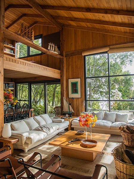 Beautiful Wood-Paneled Living Room with Open Floor Plan | #livingrooms livingroominspiration