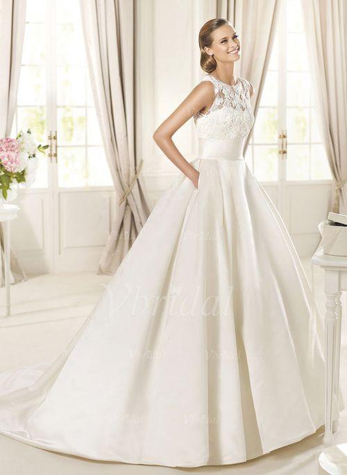 Bröllopsklänningar - $237.71 - Balklänning Rund-urringning Chapel släp Satäng Bröllopsklänning med Spetsar Pärlbrodering (0025057563)