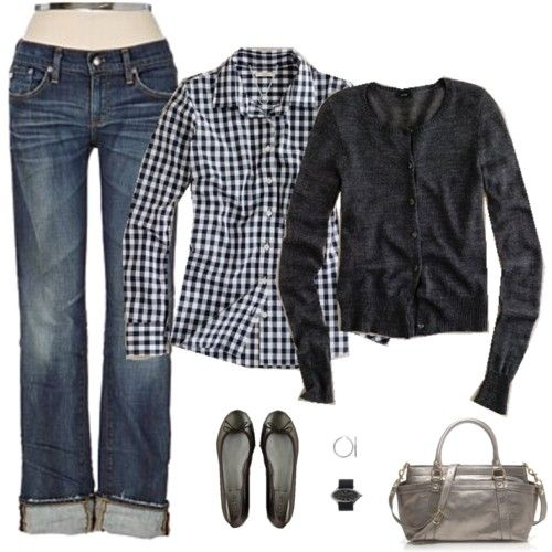 .Boyfriends Style, Casual Friday, Fashion, Fall Style, Gingham Shirts, Clothing, Outfit, Weekend Style, Plaid Shirts