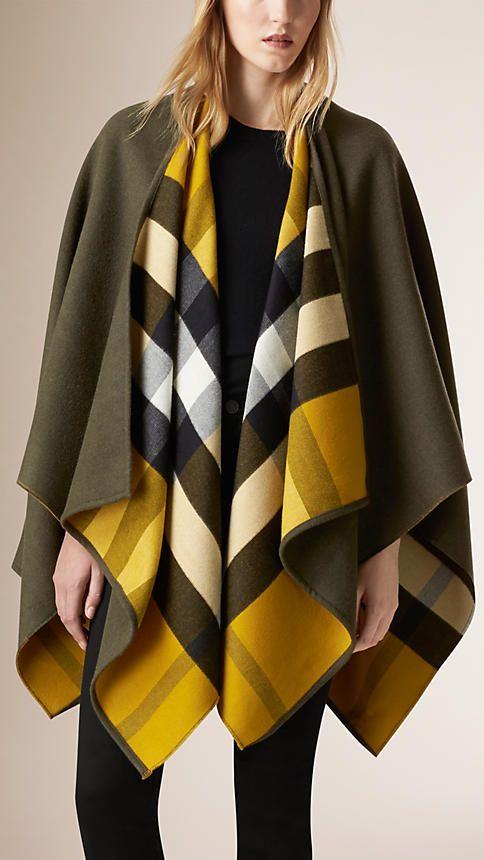 Verde oliva Poncho de lã com forro xadrez - Imagem 1