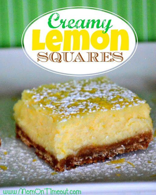 Creamy Lemon Squares Recipe from MomOnTimeout.com | Tastes like a lemon cheesecake - so creamy and delicious!  #recipe