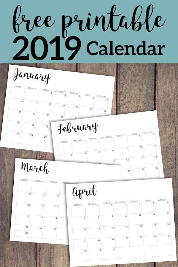2019 Calendar Printable Free Template Printable Pinterest Free