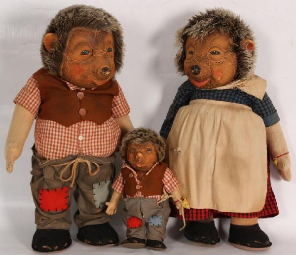 Original Steiff Micki, Mecki and Mucki Hedgehog Dolls, Germany.
