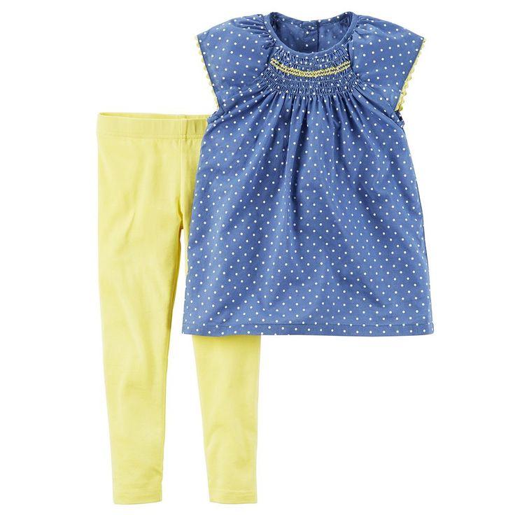 Toddler Girl Carter's Polka-Dot Smocked Top & Leggings Set, Size: 4T, Ovrfl Oth