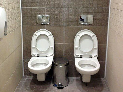 If Quick and Jimmy Howard almost fought on the big ice, what are they going to do in here?  #sochi #bathrooms