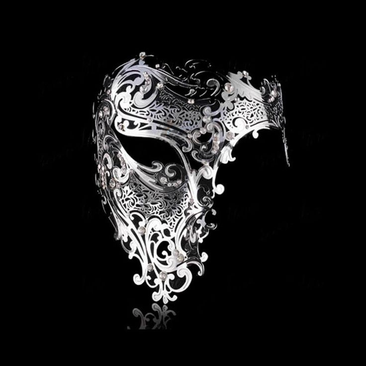 Men Womens Half Skull Phantom Venetian Filigree Metal Masquerade Halloween Mask | eBay