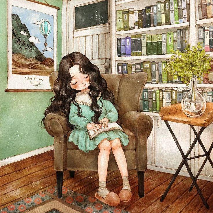 #illustration #drawing #sketch #sleeping #girl #girlish #sofa #books #interior #mint